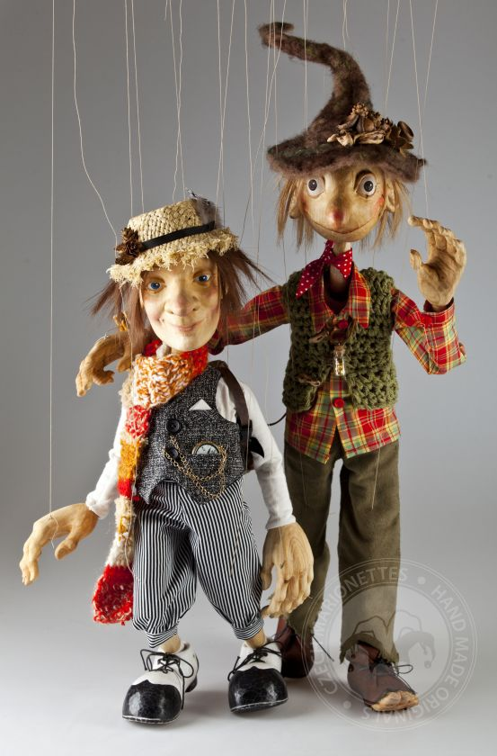 Two exclusive hand-carved custom marionettes - charming gnomes