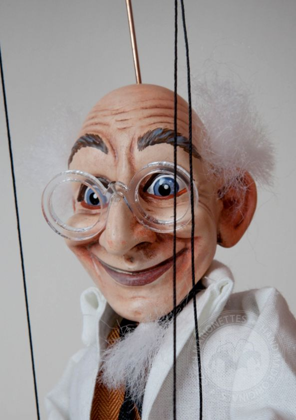 Marionette of happy scientist