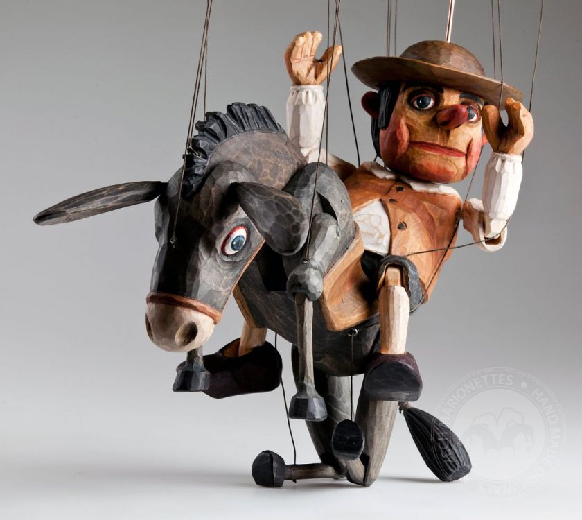 Sancho Panza and his Dapple Donkey Czech Marionette