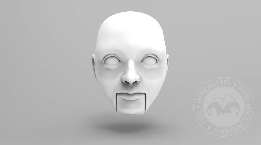 3D Model of young man's head for 3D print