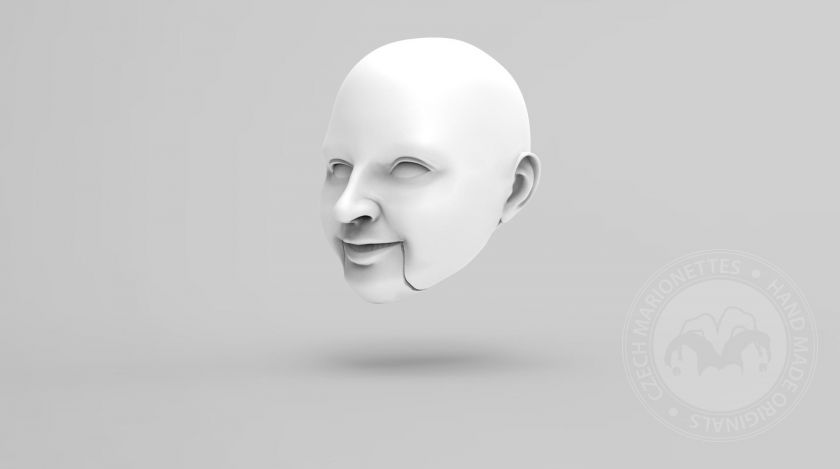 3D Model of smiling woman's head for 3D print