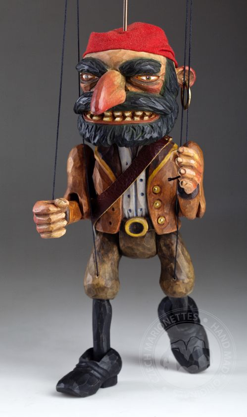 Pirate Captan Morgan Wooden Hand Carved Marionette