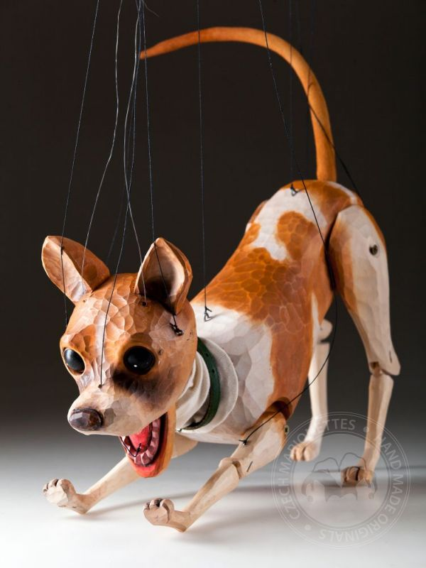 Chihuahua Handcarved Marionette Czech Marionettes