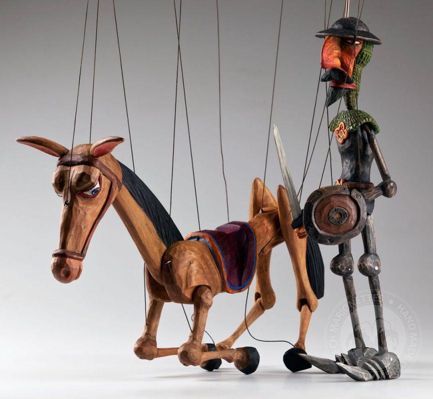 Don Quichotte And Rocinante Horse Czech Marionettes