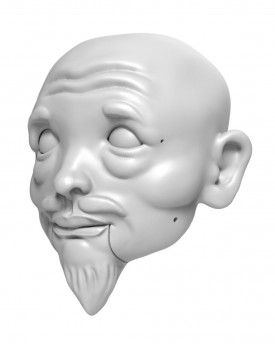 3D Model of Japanese Samurai head for 3D printing 135 mm