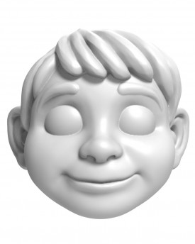Boy in animated style - head model for 3D printing