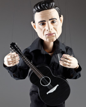 Portrait marionette Johnny Cash - 80cm (30inch), movable mouth