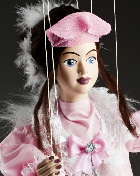 Beautiful Cinderella - a string puppet in a pink dress with a veil