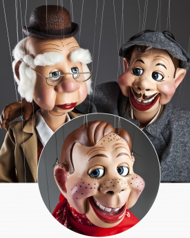 Howdy Doody, Inspector and Mister Bluster! Replicas of famous puppets from the mid-twentieth century