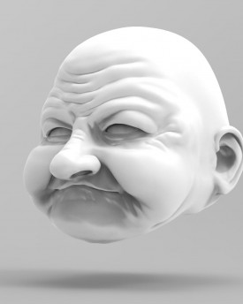 3D Model of a very old woman's head for 3D printing