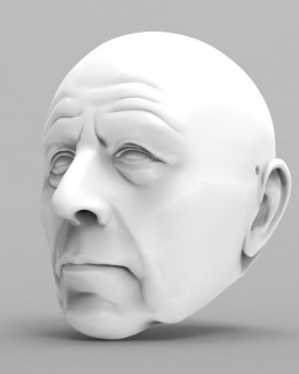3D Model of an older gentleman head for 3D printing