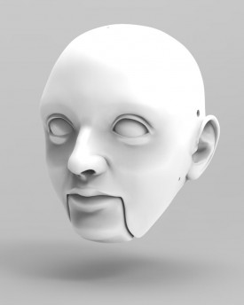 3D Mans head with movable chin