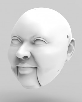 3D Model of a fat man/woman head for 3D print 135 mm