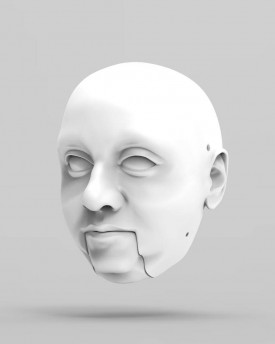 3D Model of a man with double chin head for 3D print 130 mm
