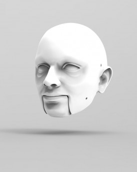 3D Model of round face man's head for 3D print