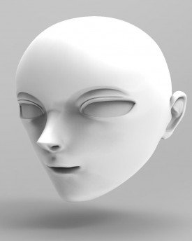 3D Model of Anime style head for 3D print