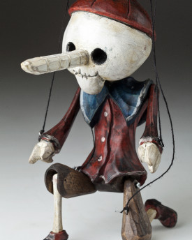 Superstar Pinocchio as a skeleton - a wooden string puppet with an original look