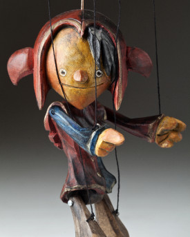 Superstar Jester - a hand carved string puppet with an original look