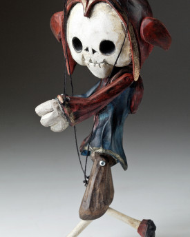 Superstar Skeleton Jester - A wooden string puppet with an original look