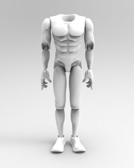 3D Model of athletic man's body for 3D print for app. 60cm (24iches) tall marionette