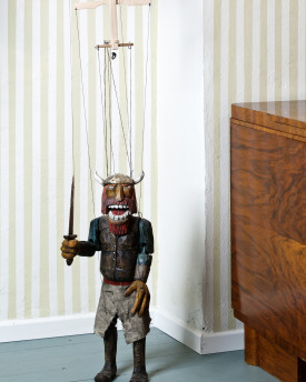 Awesome hand-carved marionette of Viking (Scandinvia)