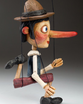 Wooden happy Pinocchio